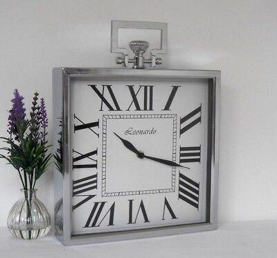 Square Silver Chrome Effect Metal Vintage Antique Style Mantel / Wall Clock 28cm