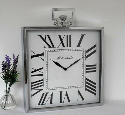 Large Square Silver Chrome Effect Metal Vintage Antique Style Mantel /Wall Clock