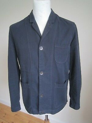 MEN'S PAUL SMITH RED EAR CHORE/WORK JACKET  S  navy canvas blazer over shirt