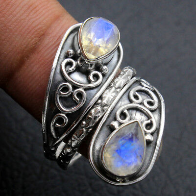 Faceted Rainbow Moonstone 925 Sterling Silver Antique Ring Size us 7.75