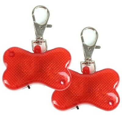 2x Hi-Vis Bright LED Pet Safety Flashers Dog Walk Collar Clip On Water Resistant