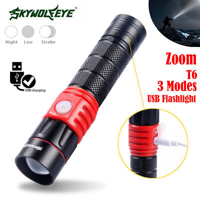 ZOOM 5000 LM XML T6 Usb Rechargeable LED Flashlight 3 Modes Portable 18650 Torch