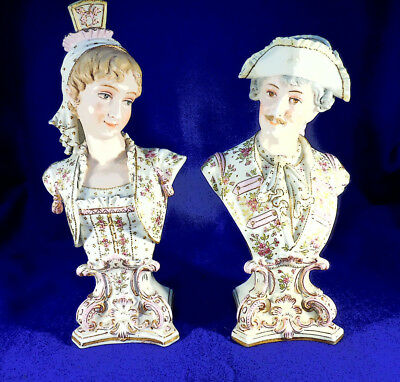 """Outstanding Antique Pair German Porcelain Busts 11 1/2"""" And 12 1/2"""""""