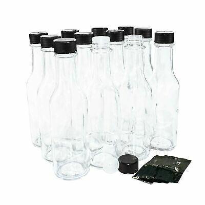 (12 pack) 5 oz. Clear Glass Hot Sauce Bottle with Black Cap + Shrink Bands an...