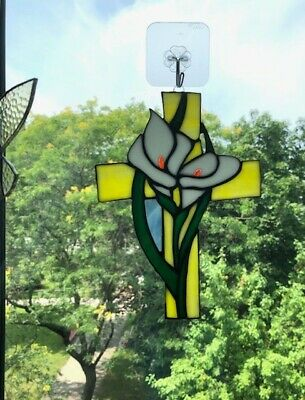 LILLY AND CROSS HANDCRAFTED Stained Glass Window Panel