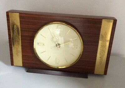 Vintage Wood & Brass Plate Smith Mantle Clock - Working.