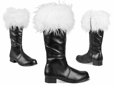 Mens Professional Father Christmas Santa Claus Black Boots Fur Trim Fancy Dress