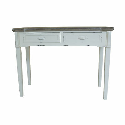 Charles Bentley Shabby Chic 2 Drawer Console Dressing Table in White