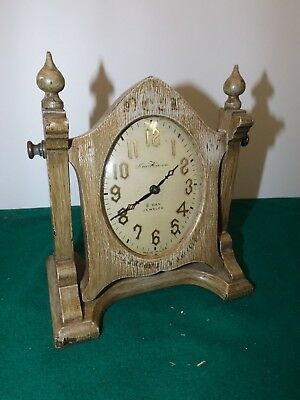 Antique Vintage New Haven 8 Day Jeweled Cheveaux Miniature Table Clock Runs Grt