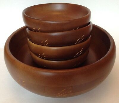 Baribocraft Canada Salad Bowl Five Piece Set Wheat Pattern Vintage
