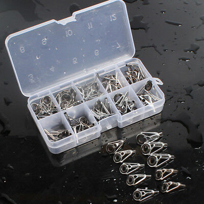 80Pcs Fishing Rod Pole Guide Stainless Steel Tip Top Ring Eye Guide Repair Kit