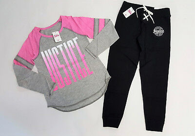 NWT Justice Kids Size 6/7 8 or 12 Pink Gray Active Logo Top & Black Jogger Pants