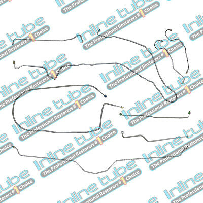 74-82 Chevrolet Corvette Manual Disc Complete Brake Line Kit Set 8pc OEM Steel