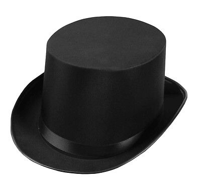 """Forum Old Fashioned Deluxe Satin Halloween Top Hat, Black, One-Size 23"""" Cir"""