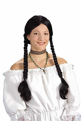 Forum Halloween Old-Fashioned Pioneer Braided Pigtail Wig, Black, One-Size