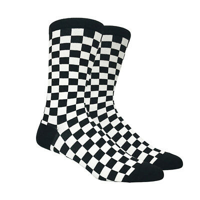 Mens Black and White Checkered Socks Checkerboard Checker Classic - 1 Pair