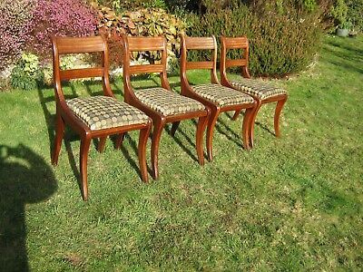 Regency Style Mahogany Bar Back Dining Chairs - Sabre Legs - Drop-in Seats
