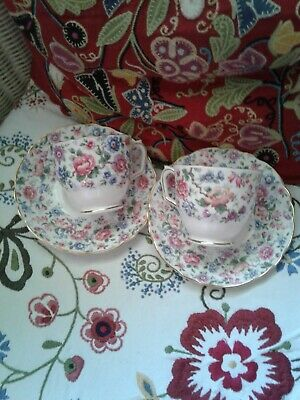 Vintage Crown Staffordshire Floral Chintz Cup & Saucer Fine Bone China England