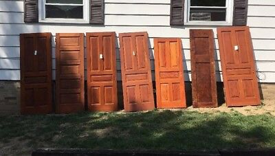 7 Antique Architectural Salvage SOLID WOOD INTERIOR DOORS 6 - 5 Panel Doors