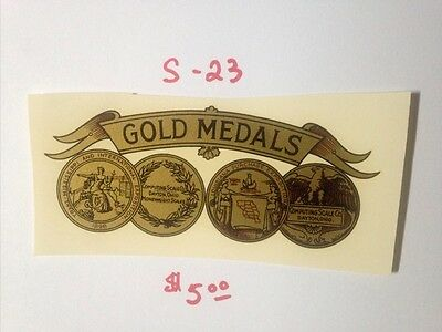 """Gold Medals Antique Scale & Coin Machine Decal  #s-23 Large  4 3/4"""" Gold Medals"""