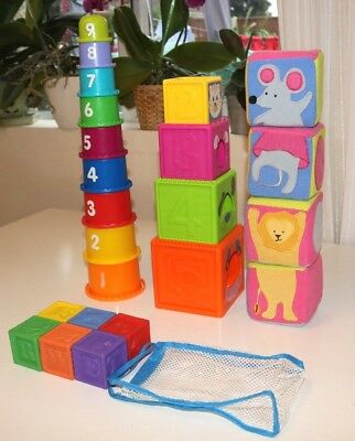 Baby Toys Bundle -Stackable Rubber Cubes / Shapes / Soft Toys - Educational