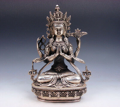 Vintage Tibetan Silver Plated Copper Crafted LARGE 4 Arms Kwan-Yin Buddha