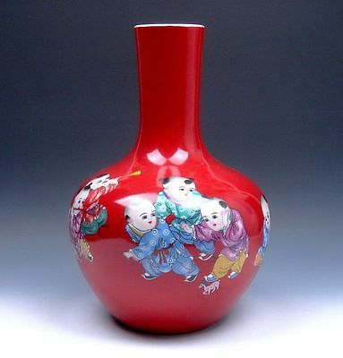 "Red Glazed Porcelain Famille-Rose Kids Playing Painted LARGE HEAVY Vase 12.5"" H"