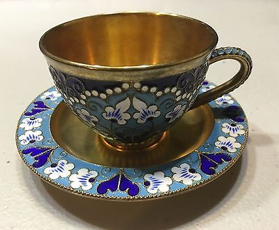 Russian Silver 916 Enamel Cup And Plate Gold Wash Total Weight 205 Grams 1960's