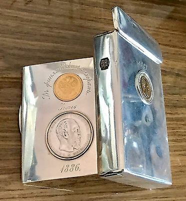 Genuine Russian Imperial Silver 84 Gold Coins Rouble Vesta Cigarette Case нк
