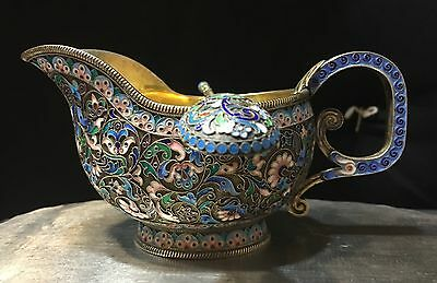 Set Russian Imperial Silver 88 Enamel Creamer W/Spoon Hallmarked Weight 270 Gram