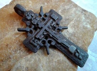 "ANTIQUE 18-19th CENTURY ORTHODOX ""OLD BELIEVERS"" LARGE ORNATE CROSS PSALM 68"