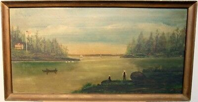 Vintage Antique Early American School Oil/Panel Painting Signed Gustave Hallee