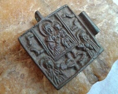 "ANTIQUE 18-19th CENTURY ORTHODOX BRONZE ""SOLDIER'S"" NECKLACE ICON MOTHER OF GOD"
