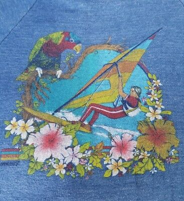 Windsurfing Vintage Sweatshirt Florida Kids 14-16 Tropical Parrot USA Decor