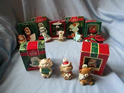 8 Vintage Hallmark ornaments all with cats! See listing for year and photos