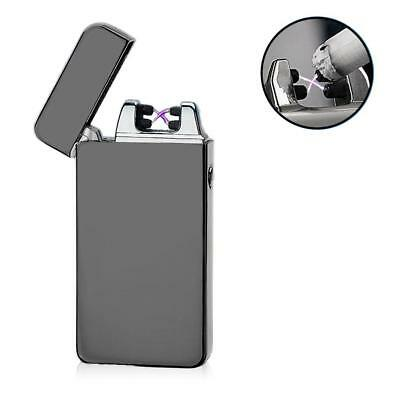 USB Electric Dual Arc Metal Flameless Torch Rechargeable Windproof Lighter MT