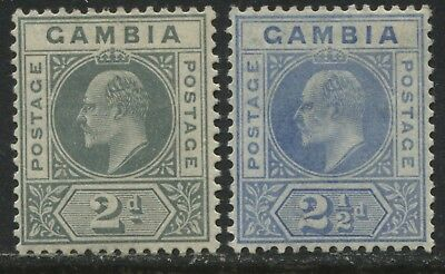 Gambia KEVII 1909 2d gray & 1905 2 1/2d bright blue mint o.g.