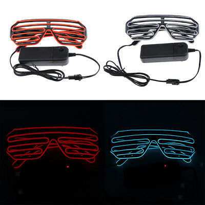 LED Light Up Shutter Glasses Glow Rave Glasses 80s Disco DJ Dancer Costume
