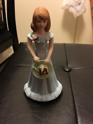 1982 Enesco Growing Up Birthday Girls Figurine Age 14 Brunette Statue Topper