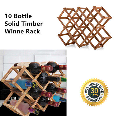 Durable Timber Wine Rack Wooden Storage Organiser Stand Fully Assemble 10 bottle