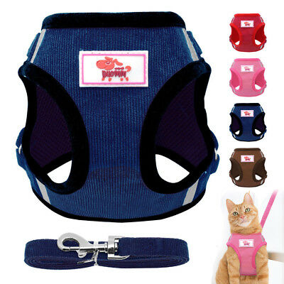 Cat Walking Jacket Harness and Leash Escape Proof Dog Mesh Adjustable Vest XS-L