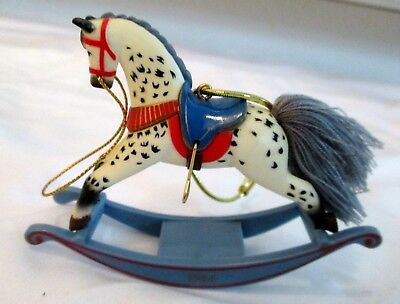"Hallmark 1984 Rocking Horse Christmas Tree Ornament 3"" Tall Euc"