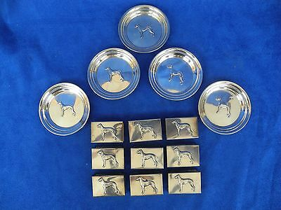 Antique sterling silver George A. Henckel 5 Dish, 9 Match Cover Case Greyhound