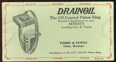 1940-50S Blotter Advertising Dranoil Piston Rings, Timme & Tewes, Linn, Ks.