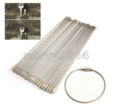 10PCS Stainless Steel EDC Aircraft Cable Wire Key Chain Ring Twist Screw Locking