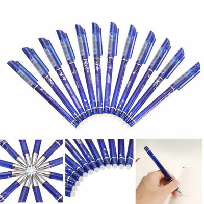 12X 0.5mm Gel Ink Pen Friction Erasable School Office Stationery Smooth Writing^