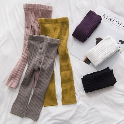 0-5T Kids Girl Baby Leggings Striped Stretch Cotton Pants Solid Color Trouser US