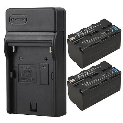 2Pcs 5200mah Replacement Camera Li-Ion Battery +Charger For Sony NP-F750 NP-F770