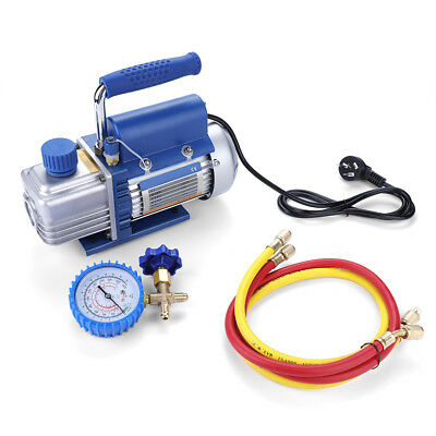 Single-Stage Rotary Vane Vacuum Pump HVAC Air Conditioning Refrigerator Gauge US