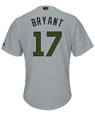 Chicago Cubs Mlb Kris Bryant #17 Usmc Majestic Cool Base Gray/olive Jersey Nwt